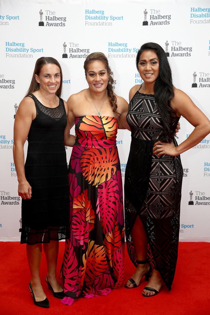 Selica Winata, Fiao'o Faamausili and Linda Itunu of the **Black Ferns** pose beautifully together on the red carpet.