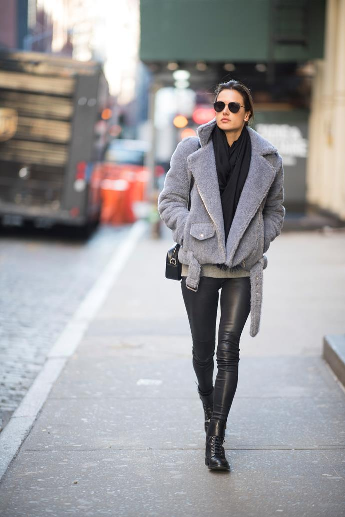 **Alessandra Ambrosio** looking chic as she strolls the streets of New York.