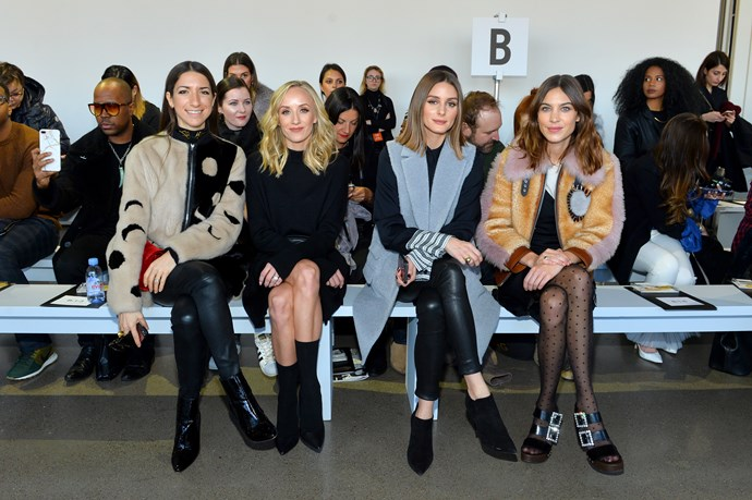 **Nastia Liukin, Olivia Palermo, and Alexa Chung**, front row for Noon by Noor during New York Fashion Week.