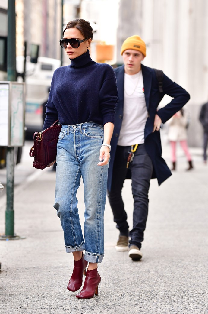 **Victoria Beckham** out and about with son **Brooklyn Beckham**.