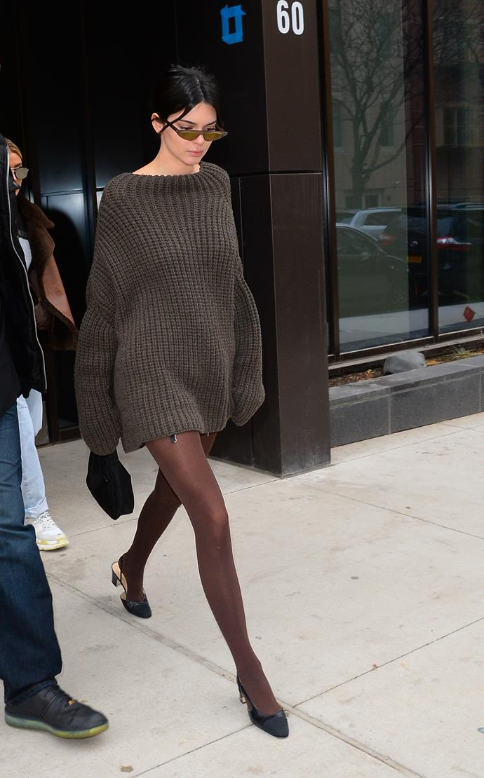**Kendall Jenner** rocking an oversized knit.
