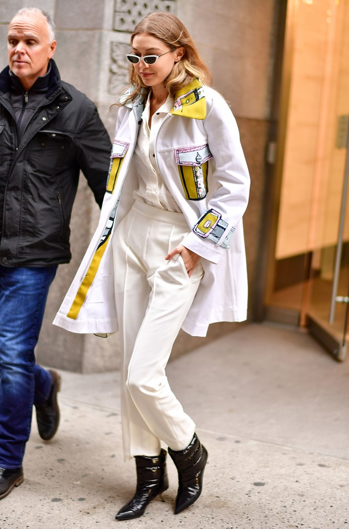 Model **Gigi Hadid** out and about in NYC.