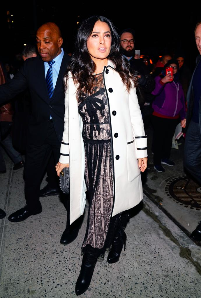 **Salma Hayek** outside of the Bottega Venetta show.