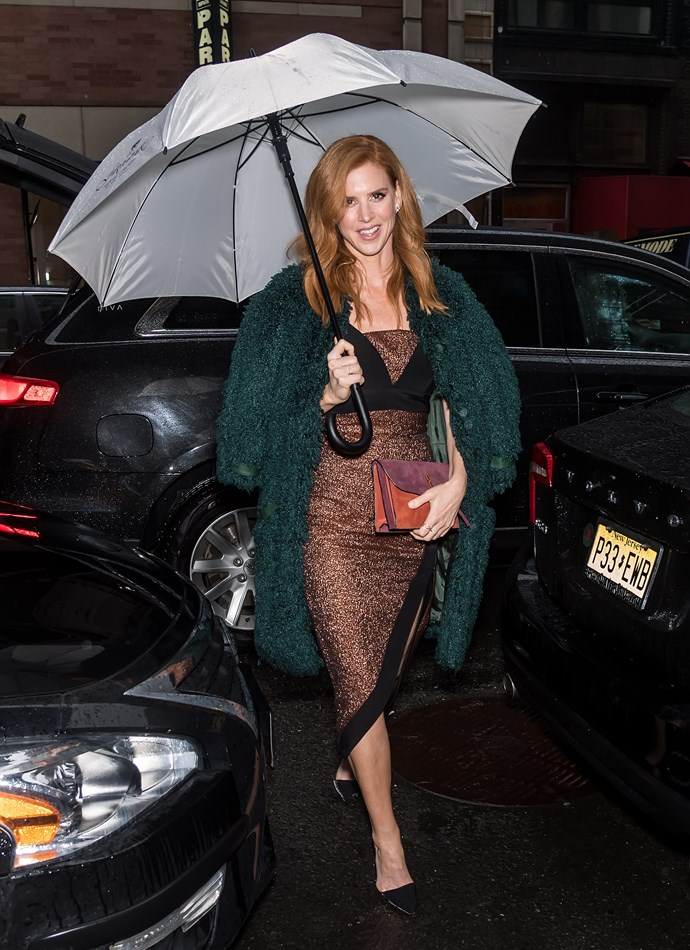 Actress **Sarah Rafferty** (aka Donna from *Suits*) at the Christian Siriano fashion show.