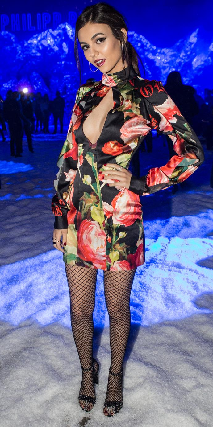 **Victoria Justice** at The Philipp Plein Fashion show.