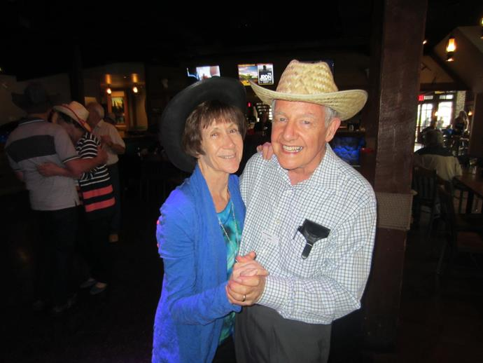 The couple that dances together stays together. Here, Ros and John are line dancing during a holiday in Canada.