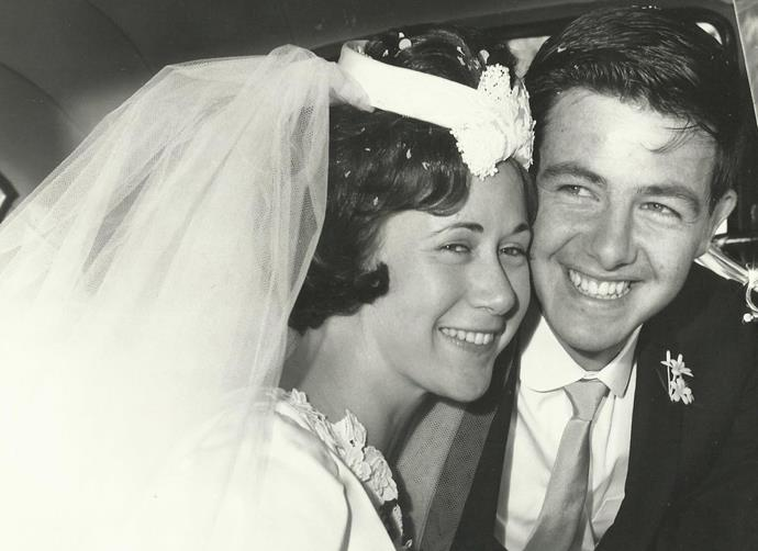 Ros and John on their wedding day in 1965.