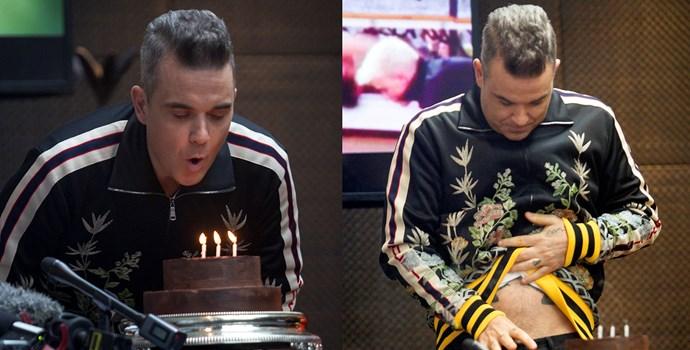 Robbie Williams makes his birthday wish.