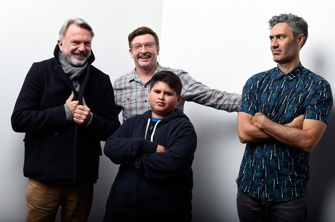 Waititi with the cast of Hunt for the Wilderpeople. L-R Sam Neill, Rhys Darby and Julian Dennison.