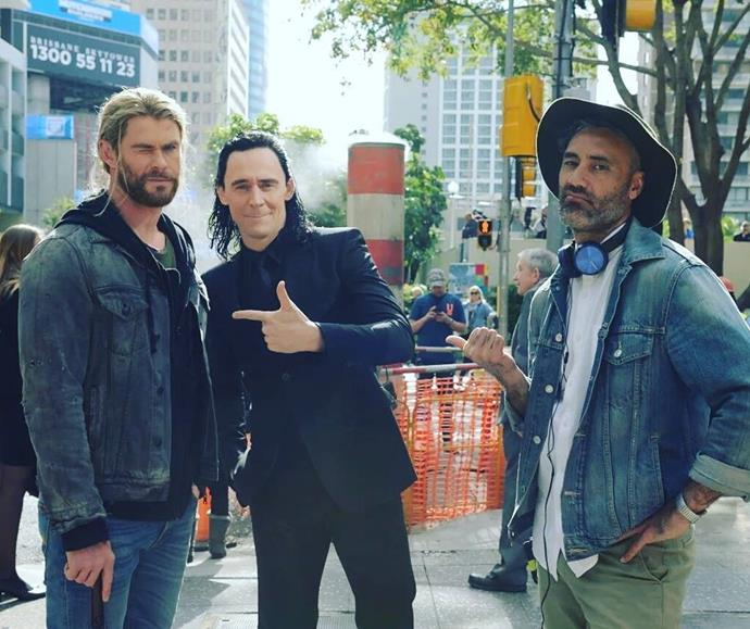 Waititi brought his trademark humour to the set of Thor: Ragnarok. Pictured here with stars Chris Hemsworth and Tom Hiddleston.