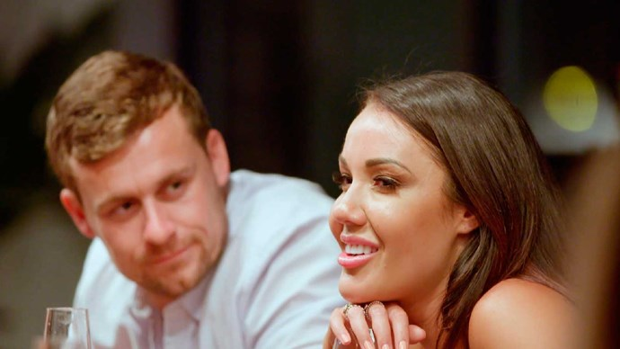 *Married at First Sight* participant Davina Rankin flirts even as her husband, Ryan, looks on.