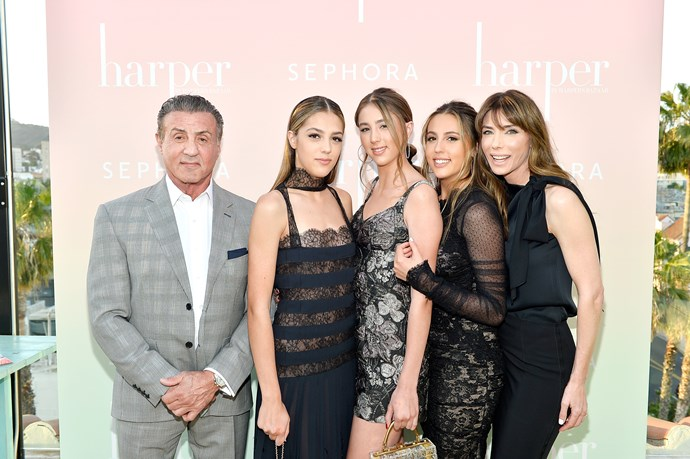 **Sistine Stallone** (second from left) with parents Sylvester Stallone and Jennifer Flavin Stallone, and sisters Scarlet and Sophia Stallone.