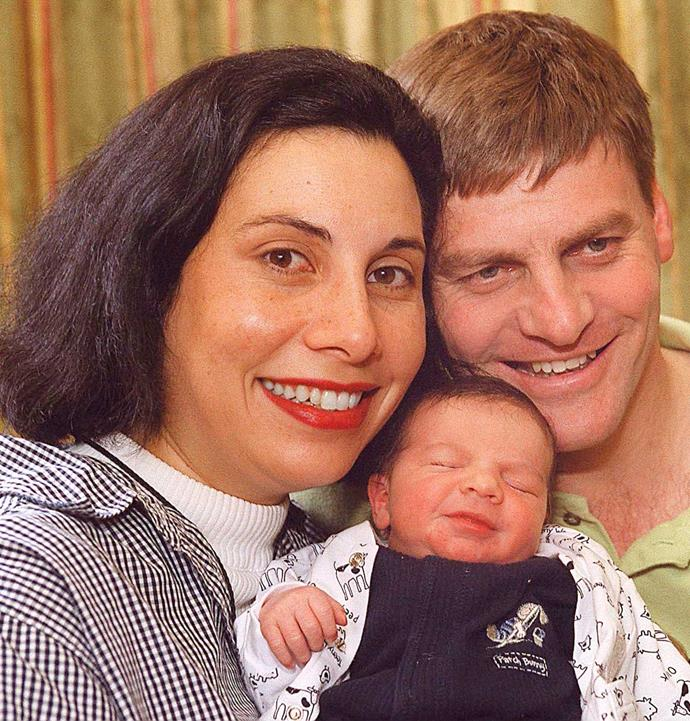 Mary and Bill with newborn son Xavier in 1999.