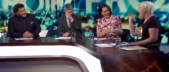 Host Jesse Mulligan wipes away a tear.