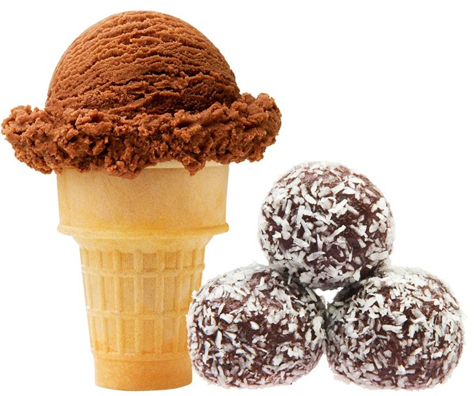 **Swap one scoop of chocolate ice cream for 3 bliss balls**                                                                                                                                                      Goodbye, tubs of ice cream – hello, healthy bliss balls.