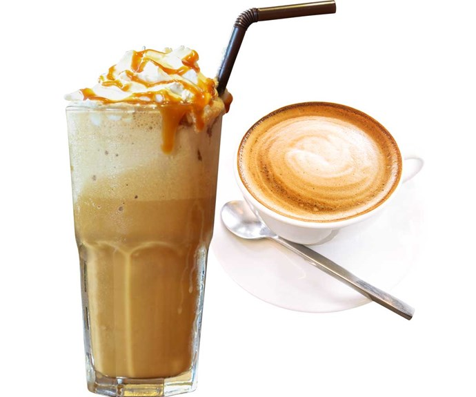 **Swap a caramel frappe latte for a trim flat white**                                                                                                                                                          Ditch heavy, overly sweet coffee and order one made with low-fat milk and no sugar. Better still, switch to espresso.