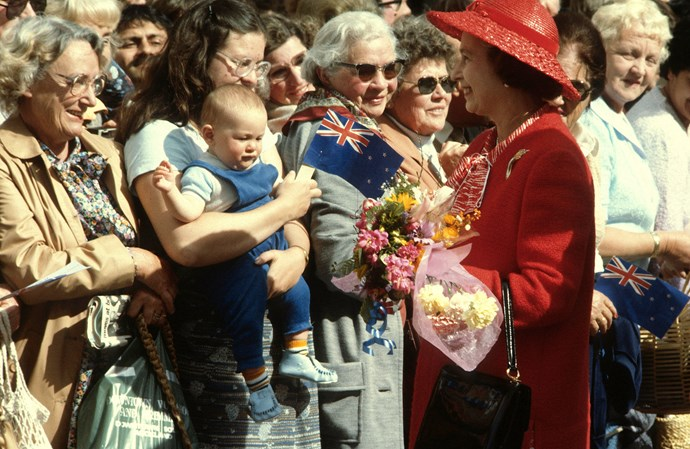 Queen Elizabeth greets the public during her 1981 tour of New Zealand.