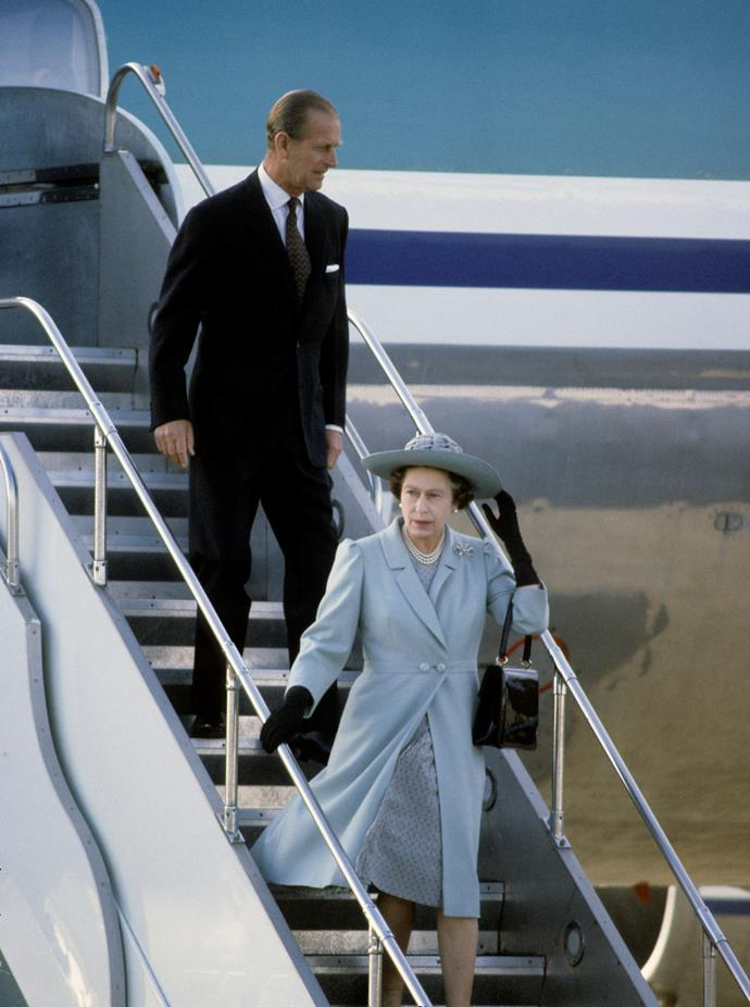 Queen Elizabeth and the Duke of Edinburgh arrive in Wellington during the tour.