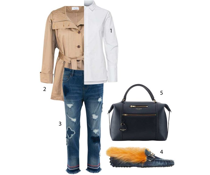 **Casual**                                                                                                                                                                                                                             1. Shirt, $290, by Gestuz. 2. Anorak, $550, by Lonely. 3. Jeans, $199, by Curate. 4. Loafers, $1085, by Tod's. 5. Bag, $980, by Deadly Ponies.