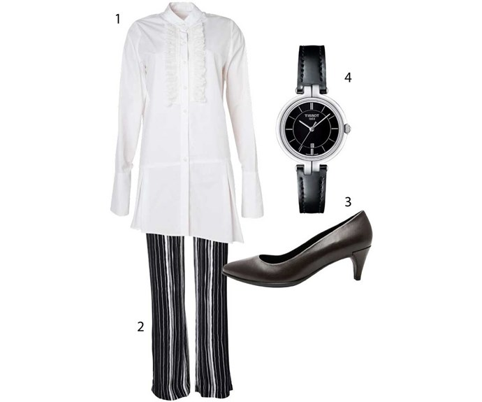 **Classic**                                                                                                                                                                                                                              1. Shirt, $312, by Sheryl May. 2. Trousers, $299, by Sheryl May. 3. Heels, $299, by Ecco. 4. Watch, $525, by Tissot from Stewart Dawsons.