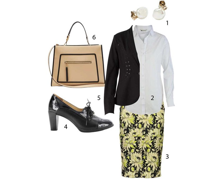 **Corporate**                                                                                                                                                                                                                        1. Earrings, $1329, by Meadowlark. 2. Shirt, $125, by PJ Jeans from Simply Wonderful Clothes. 3. Skirt, $499, by World. 4. Booties, $260, by Ziera. 5. Jacket, $300, by Verge. 6. Bag, $2505, by Fendi.