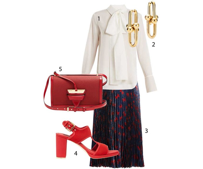 **Creative**                                                                                                                                                                                                                    1. Shirt, $1275, by Chloe. 2. Earrings, $7650, by Tiffany & Co. 3. Skirt, $1935, by Gucci. 4. Heels, $329, by Kathryn Wilson. 5. Bag, $2735, by Loewe.