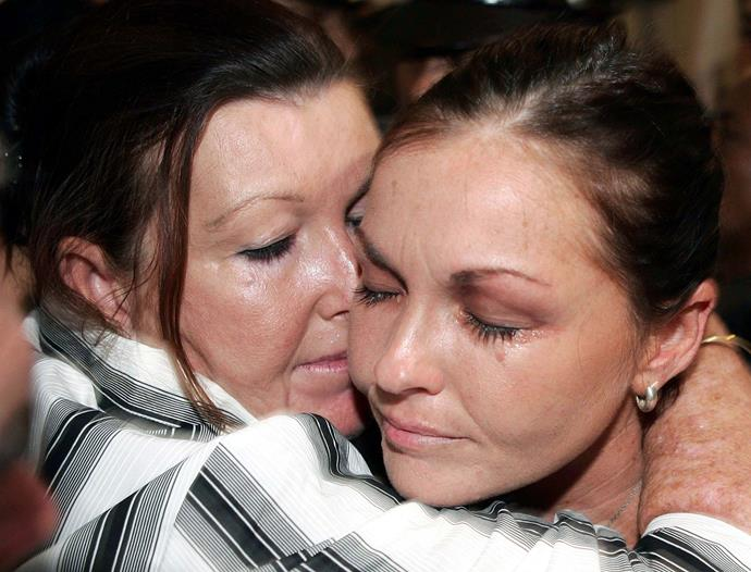 Schapelle is hugged by her mother Roseleigh Rose in court in 2006 after she was found guilty of trying to smuggle 4.1kg (9 lb) of marijuana into Bali.