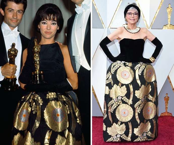 Actress Rita Moreno wears the same dress she wore to the 1962 Academy Awards.