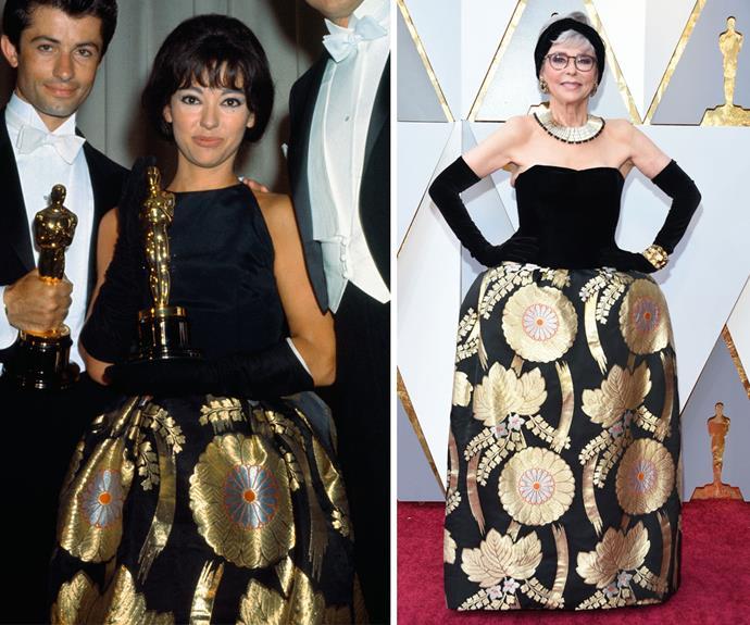 Actress Rita Moreno wears the same dress she wore to the 1962 Academy Awards.