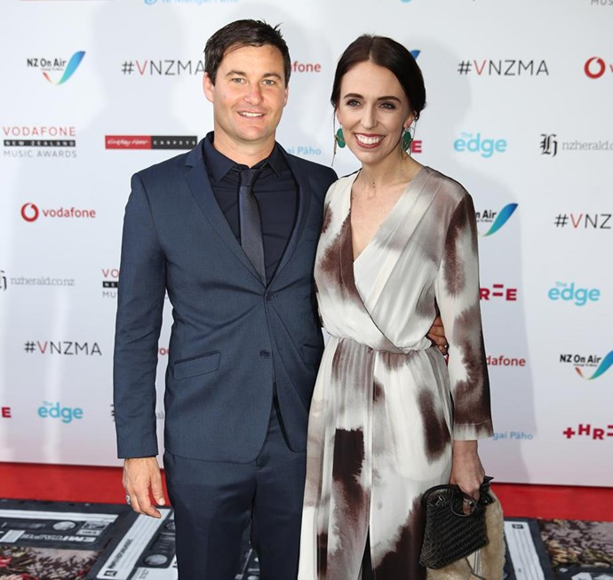 Jacinda and Clarke attend last year's Vodafone New Zealand Music Awards.