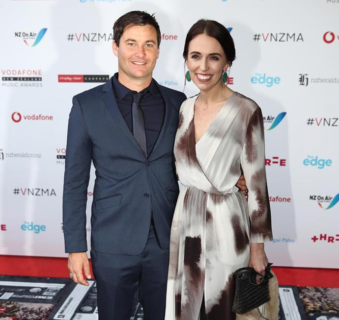 Jacinda and Clarke attend last year's Vodafone New Zealand Music Awards.