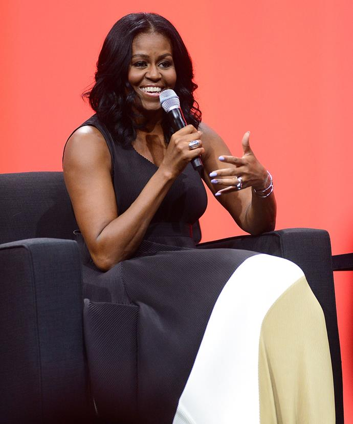"**Michelle Obama**  ""There is no limit to what we, as women, can accomplish, whether that's in politics or other fields."""