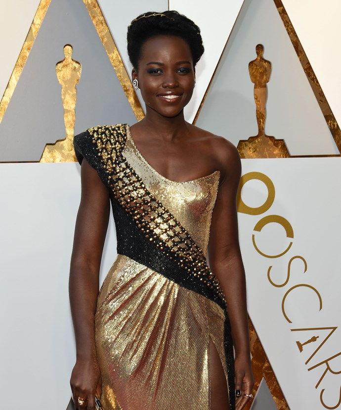 """**Lupita Nyong'o**  """"I hope that my presence on your screen and my face in magazines may lead you, young girls, on a beautiful journey,"""" she said. """"That you will feel the validation of your external beauty, but also get to the deeper business of being beautiful inside."""""""