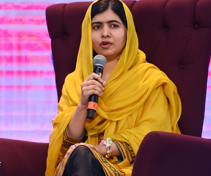 """**Malala Yousafzai**  """"I raise up my voice - not so I can shout but so that those without a voice can be heard... we cannot succeed when half of us are held back."""""""