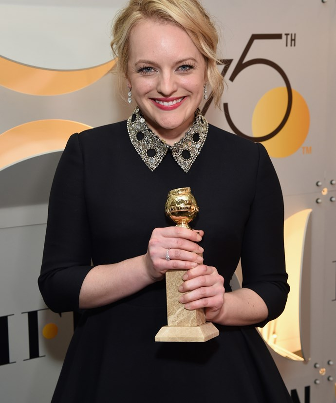 """**Elisabeth Moss**  *Who dedicated her award at the 75th annual Golden Globe Awards to Margaret Atwood, author of The Handmaid's Tale.*  """"Margaret Atwood, this is for you, and all of the women who came before you and after you who were brave enough to speak out against intolerance and injustice."""""""