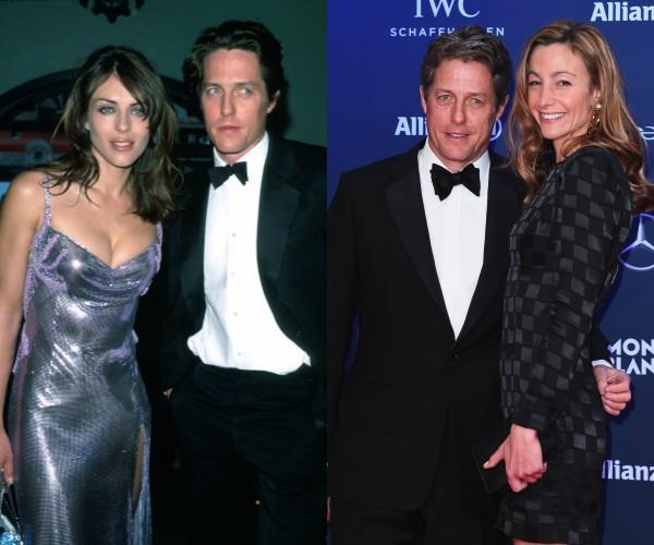 Hugh is pictured way back when with ex-girlfriend Elizabeth (L), and alongside current partner Anna (R).