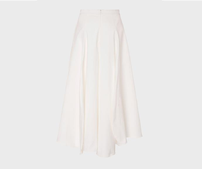 [Maggie Marilyn skirt, $500, from The Shelter.](https://www.theshelteronline.com/tulip-skirt-white.html)
