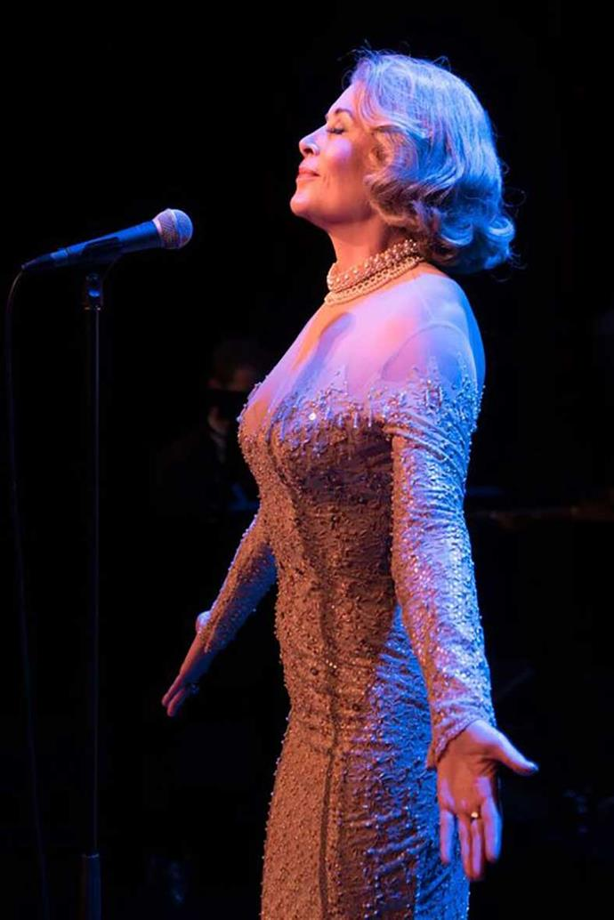 Jennifer as Marlene Dietrich in Falling in Love Again. Since its first performance in 2003, the show has toured in New Zealand and Australia.