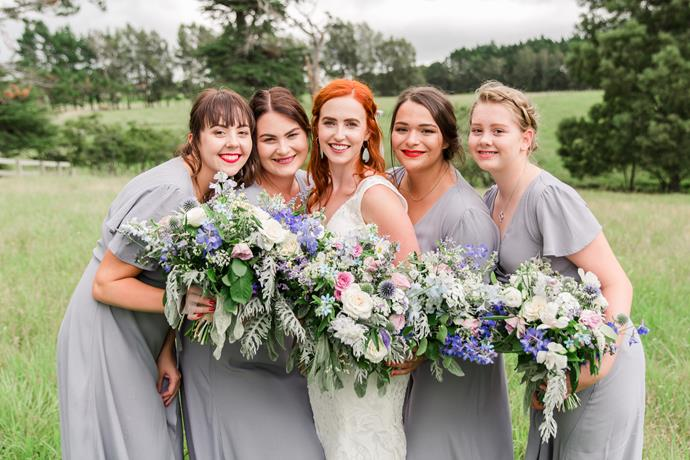 Kelsey with her bridesmaids. The couple's celebrant also happened to be Kelsey's maid of honour.