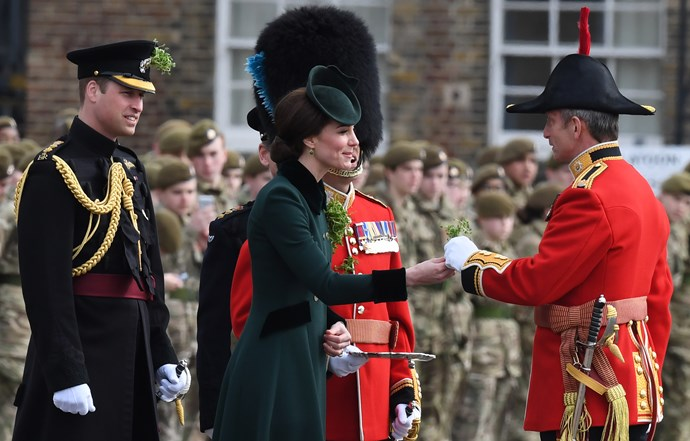 "**The royals mark St Patrick's Day with their own special ceremony**  Every St Patrick's Day, a member of the British royal family [presents the Irish Guards with shamrocks](https://www.nowtolove.com.au/fashion/fashion-trends/royal-family-celebrate-saint-patricks-day-35958|target=""_blank"") for their headgear. This traditional role has been the responsibility of a female member of the royal family since its inception in 1901."