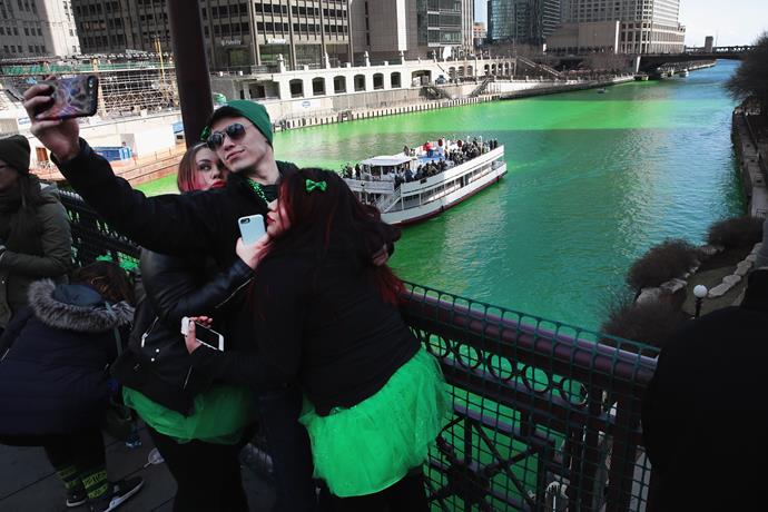 **Chicago dyes its river green**  Dyeing the river has been a St Patrick's Day tradition in the US city since 1962.  The dye is especially made for the river and keeps the water green for up to 48 hours.