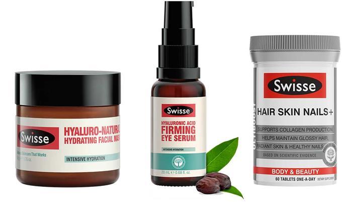 Swisse Hyaluro-Natural™ Hydrating Facial Mask, $19.99.  Swisse Hyaluronic Acid Firming Eye Serum, $32.99. Swisse Ultiboost Hair Skin Nails+, $27.95.