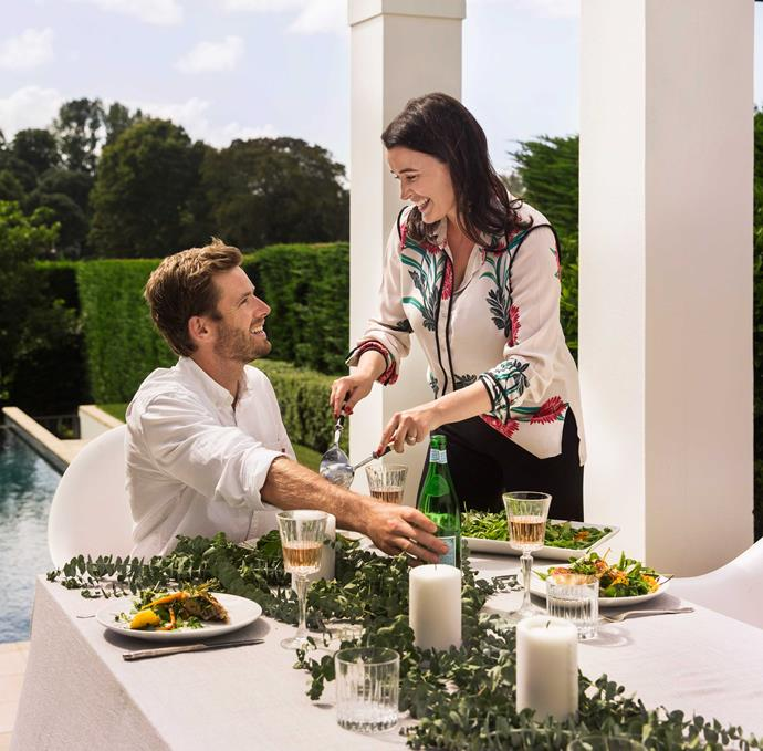 Olivia Vincent, pictured with fiancé Nick Healy, loves throwing together one of her easygoing lunches.