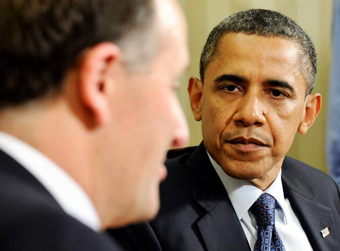 Obama listening intently to John Key at the White House.