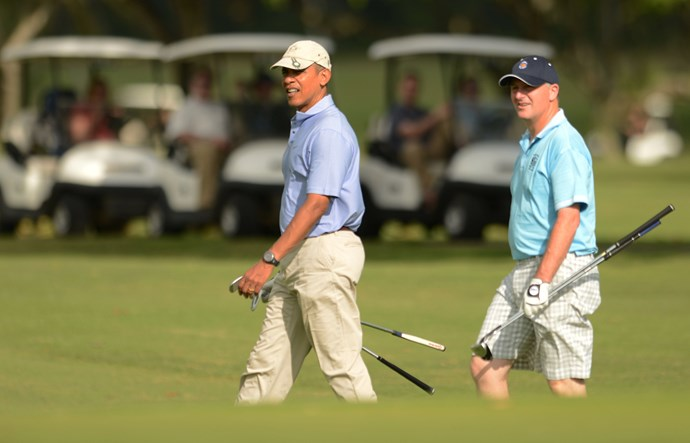 Golf buddies! Obama and Key playing golf at the Marine Corps Base Hawaii's Kaneohe Klipper Golf Course January 2, 2014 in Kaneohe, Hawaii. Both Key and Obama have holiday homes in Hawaii.