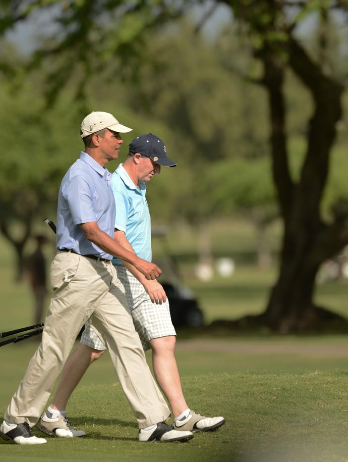 Key and Obama wearing the ultimate dad uniform on their golf day in Hawaii in 2014.