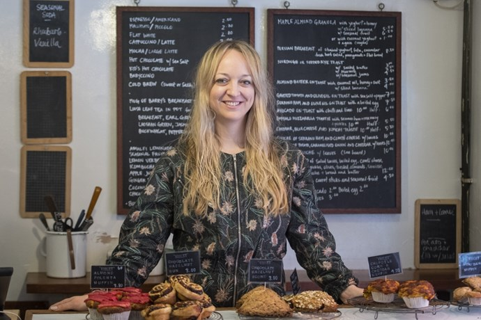 Bakery owner, food columnist and now royal baker Claire Ptak poses at her East London bakery.