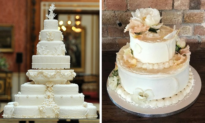 William and Kate's cake, left, is markedly different to Violet Bakery's wedding cake style.