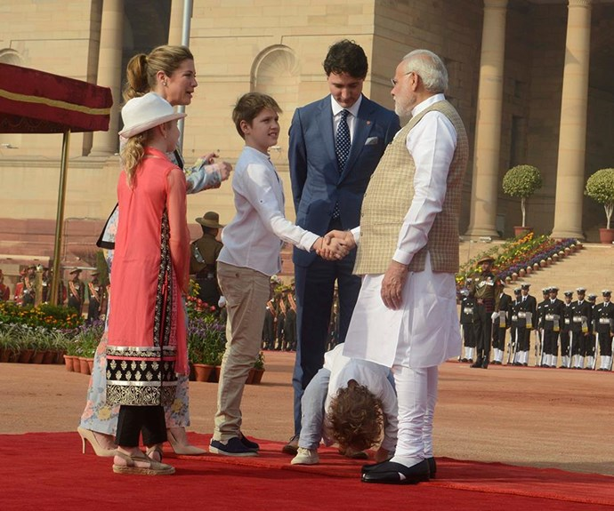 When looking through your legs is more exciting than greeting the Prime Minister of India.