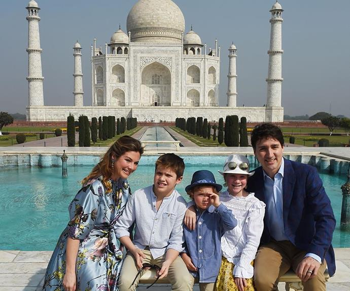 When you finally beat the crowd to get an obstructed shot in front of the glorious Taj Mahal and your youngest has the sun in their eyes...